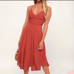 Troulos Rust Red Lace Up Midi Dress